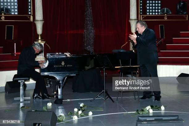 Pianist Gerard Daguerre and Gerard Depardieu perform during 'Depardieu Chante Barbara' at 'Le Cirque D'Hiver' on November 10 2017 in Paris France