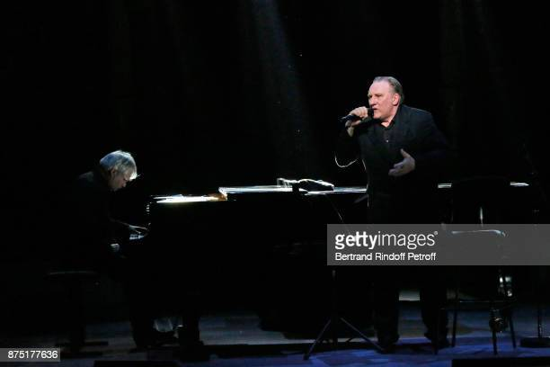 Pianist Gerard Daguerre and Gerard Depardieu perform during 'Depardieu Chante Barbara' at 'Le Cirque D'Hiver' on November 16 2017 in Paris France