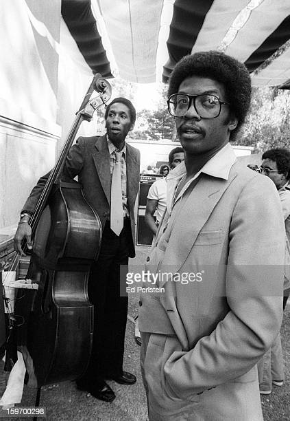 Pianist Herbie Hancock and bassist Ron Carter pose backstage during the Berkeley Jazz Festival at the Greek Theatre in May 1978 in Berkeley California