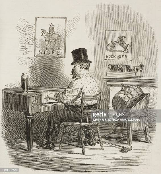 Pianist in a pub New York United States of America illustration from the magazine The Illustrated London News volume XLV December 3 1864