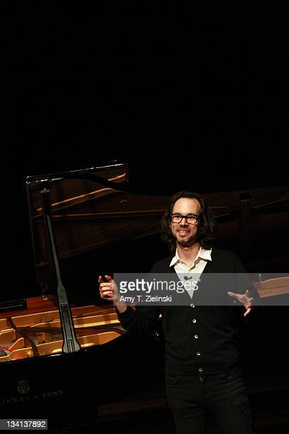 Pianist James Rhodes speaks between playing Beethoven Chopin and Bach on a Steinway grand piano at the Queen Elizabeth Hall at Southbank Center on...