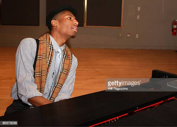 Pianist Jonathan Batiste performs at a briefing on recovery and the cultural economy of Louisiana at Frederick P Rose Hall on March 25 2008 in New...