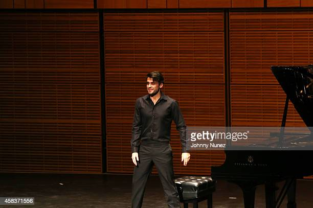 Pianist Jorge Viladoms performs during the Luz de Luna Piano Violin and Dance Concert at Carnegie Hall on November 3 in New York City