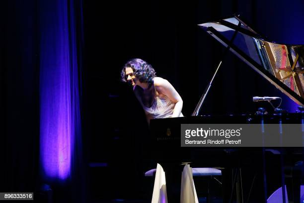 Pianist Khatia Buniatishvili performs during the Gala evening of the PasteurWeizmann Council in Tribute to Simone Veil at Salle Pleyel on December 20...