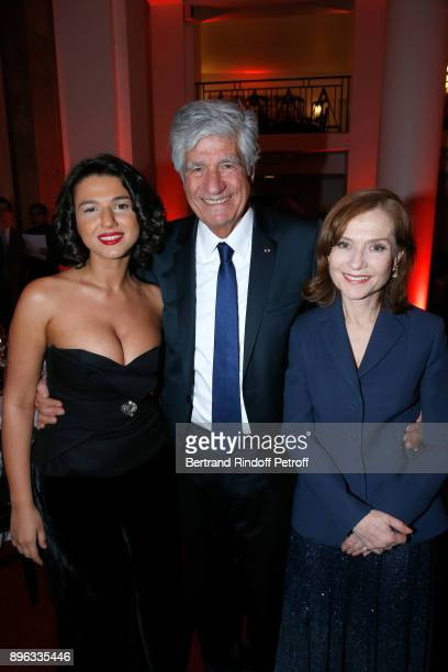 Pianist Khatia Buniatishvili President of the PasteurWeizmann Council Maurice Levy and Actress Isabelle Huppert attend the Gala evening of the...