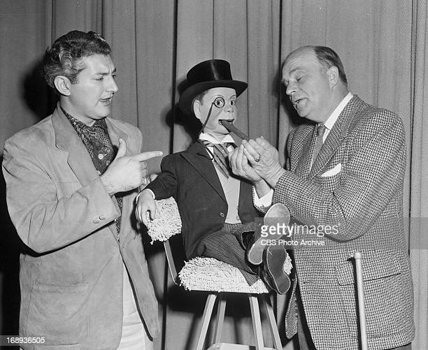 Pianist Liberace appears with Charlie McCarthy and ventriloquist Edgar Bergen in a 1957 CBS Radio presentation