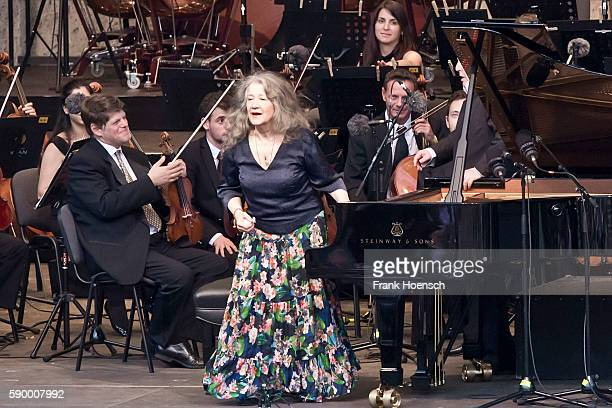Pianist Martha Argerich and the WestEastern Divan Orchestra perform live during a concert at the Waldbuehne on August 13 2016 in Berlin Germany