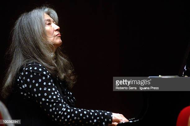 Pianist Martha Argerich perform her's concert with String Quartet for Bologna Festival at Manzoni theatre on May 20 2010 in Bologna Italy