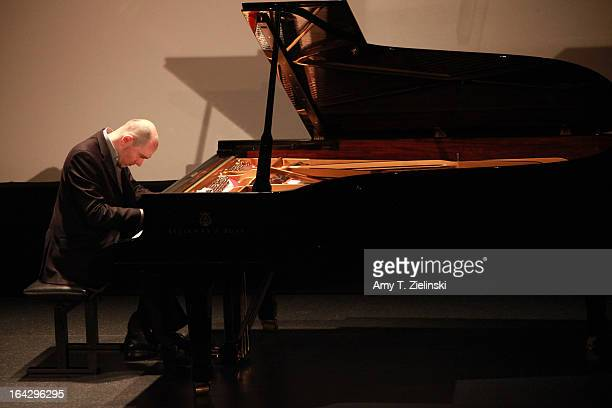 Pianist Nick van Bloss performs Bach's Goldberg Variations at a Steinway grand piano on stage in Cine Lumiere during 'It's All About Piano!' festival...