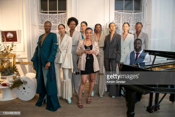 Pianist Patrick Clopon Fashion designer Shanna Bent Ciinderella Balthazar and the models at the Maison Bent AW20 Presentation at Pushkin House on...