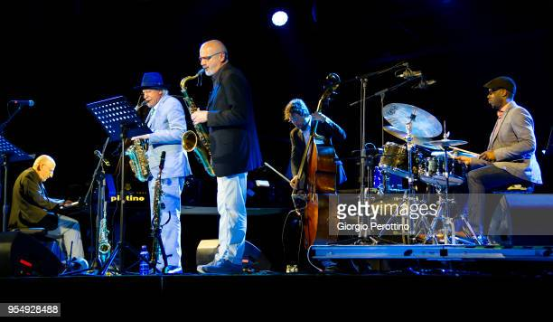 pianist Riccardo Ruggieri performs live with his quartet with special guest Gary Bartz during Torino Jazz Festival @OGR on April 30 2018 in Turin...