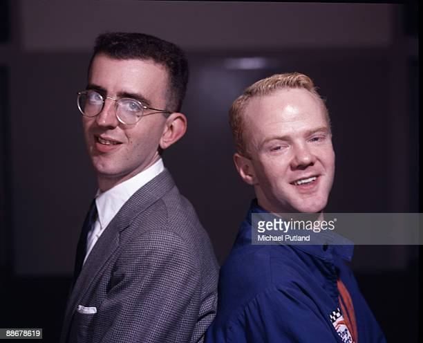 Pianist Richard Coles and singer Jimmy Somerville of British pop duo The Communards London circa 1985