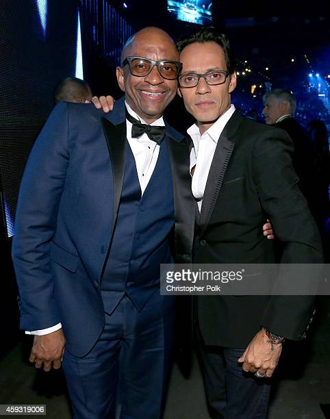 Pianist Sergio George and singer Marc Anthony attend the 15th Annual Latin GRAMMY Awards at the MGM Grand Garden Arena on November 20 2014 in Las...