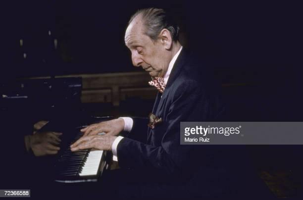 Pianist Vladimir Horowitz during a recording session.