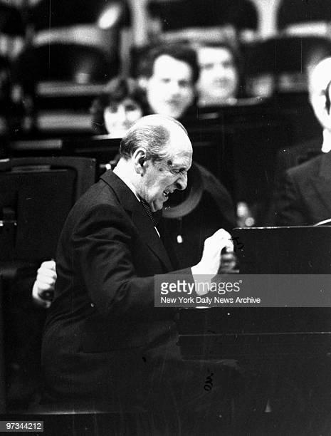 Pianist Vladimir Horowitz plays at the opening ceremonies of the refurbished Carnegie Hall