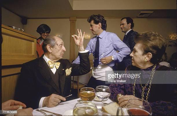 Pianist Vladimir Horowitz with wife Wanda at Sistina restaurant.