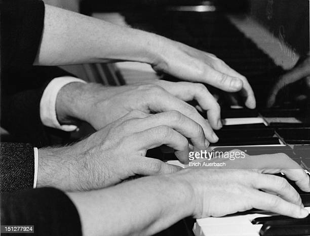 Pianist Yaltah Menuhin and her husband Joel Ryce playing a work for four hands 18th October 1962