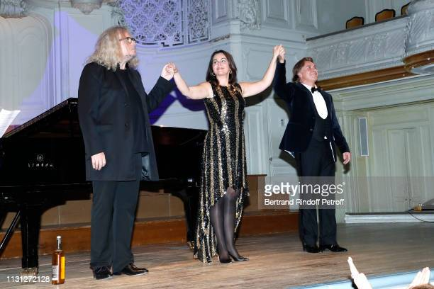 Pianist Yvan Cassar soprano Aleksandra Kurzak and tenor Roberto Alagna acknowledge the applause of the audience after have performed during attend...