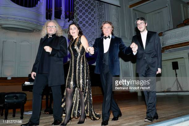 Pianist Yvan Cassar soprano Aleksandra Kurzak tenor Roberto Alagna and pianist Alexander Gadjiev acknowledge the applause of the audience after have...