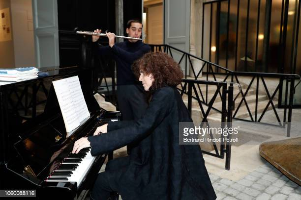 Pianiste Betina Bocchese and Flutist Andrea Vecchiato perform during Alaia Foundation Library Opening at Galery Azzedine Alaia on November 10 2018 in...