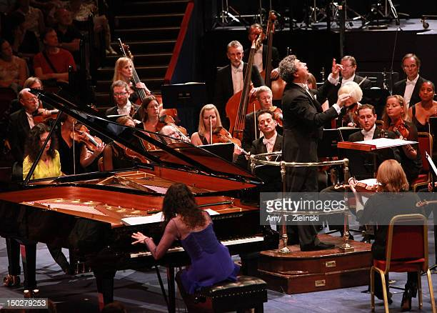 Pianists Katia and Marielle Labeque perform as Semyon Bychkov conducts composer Richard Dubugnon's 'Battlefield Concerto' with the BBC Symphony...