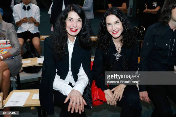 Pianists Marielle and her sister Katia Labeque attend the Givenchy show as part of the Paris Fashion Week Menswear Spring/Summer 2015 on June 27 2014...