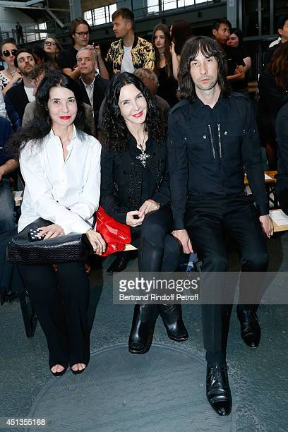 Pianists Marielle her sister Katia Labeque and Bobby Gilepsie attend the Givenchy show as part of the Paris Fashion Week Menswear Spring/Summer 2015...