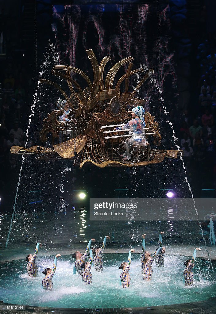 Pianists perform with synchronised swimmers during the Opening Ceremony of the 16th FINA World Championships at TatNeft Arena on July 24, 2015 in Kazan, Russia.