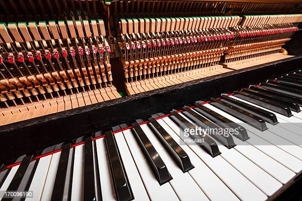 piano hammers - musical instrument string stock photos and pictures