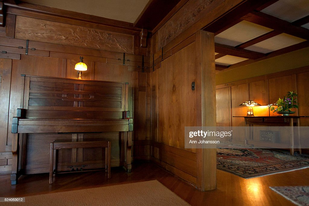 A Piano In The Living Room And The Hallway Is Photographed At The Gamble  House