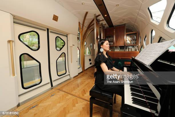 Piano is played at the lounge of the JR East's 'Train Suite ShikiShima' during the press preview on April 26 2017 in Tokyo Japan The luxury sleeper...
