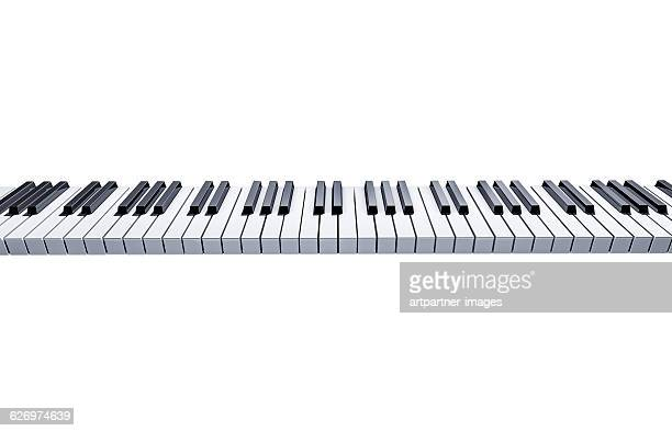 piano keyboard on white background