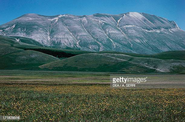 Piano Perduto with Monte Vettore in the background Castelluccio plains Sibillini Mountains National Park Umbria Italy