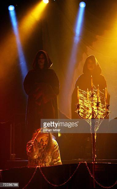 Piano player Doug Katsaros is flanked by Druid characters as he performs during Van Helsing's Curse an 18piece gothic rock opera at The Joint inside...