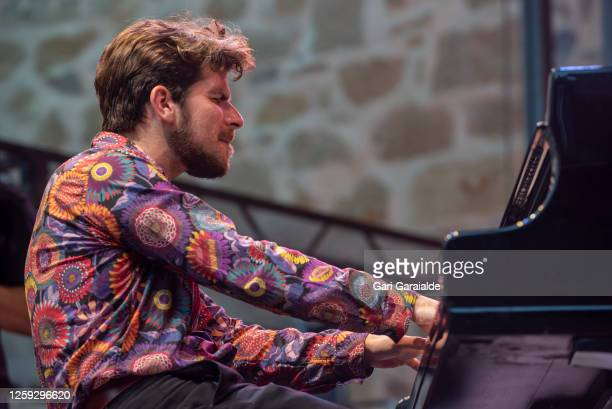 Piano player Marco Mezquida performs on stage with the Beethoven Collage project during the 55th edition of the Heineken Jazzaldia Festival on July...