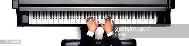 piano player - grand piano stock photos and pictures