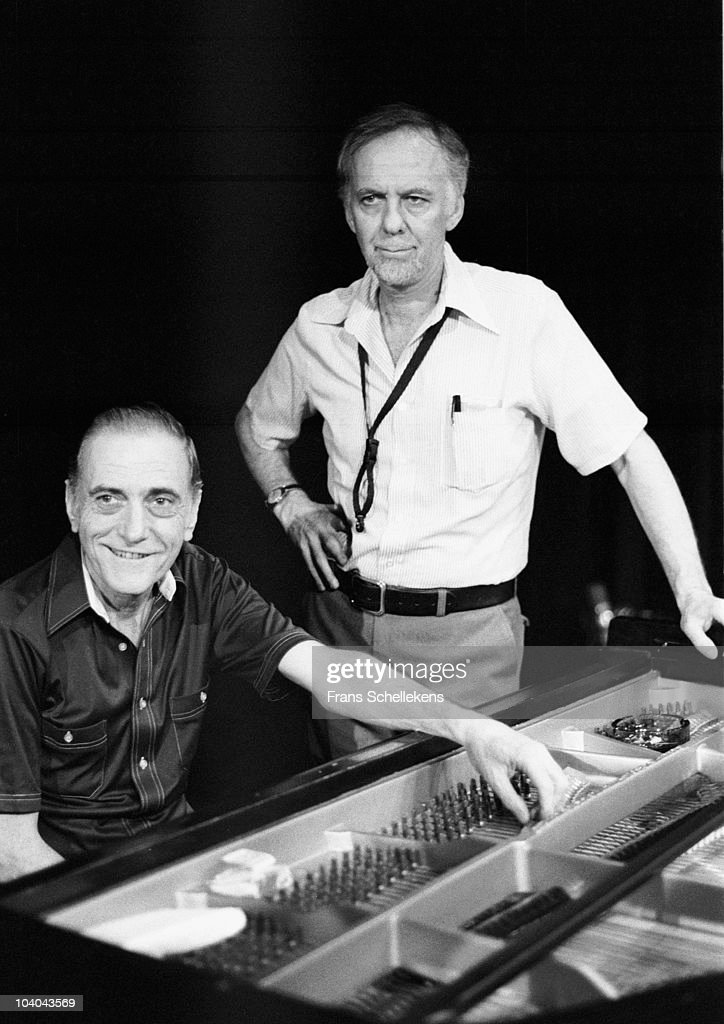 Piano player Sal Mosca and tenor sax player Warne Marsh pose for a portrait at the piano at Meervaart on August 12 1982 in Amsterdam, Netherlands.