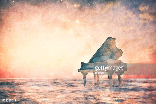 piano standing in fantasy landscape - grand piano stock photos and pictures