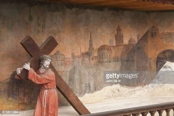 piaristenkirche church, christ statue and fresco - religious cross stock pictures, royalty-free photos & images