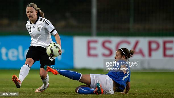 PiaSophie Wolter of Germany and Lisa Boattin of Italy fight for the ball during the women's U19 international friendly match between Germany and...