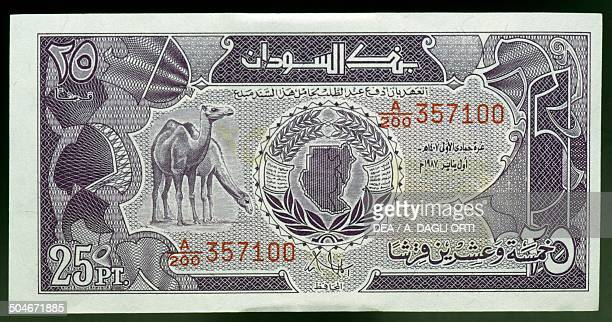 25 piastres banknote 19801989 obverse depicting a camel Sudan 20th century