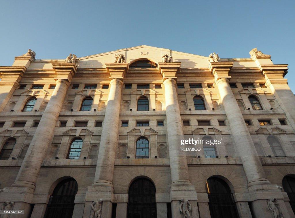 6ecd144a09 Piazza Affari square, Italian Stock Exchange palace, Mezzanotte ...