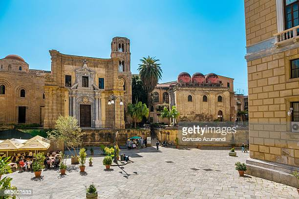 piazza bellini square in palermo. - palermo sicily stock photos and pictures