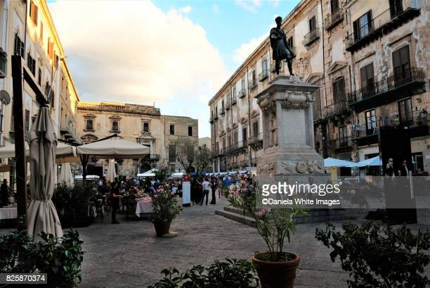 Piazza Bologni and the monument to Charles V in Palermo, Sicily, Italy