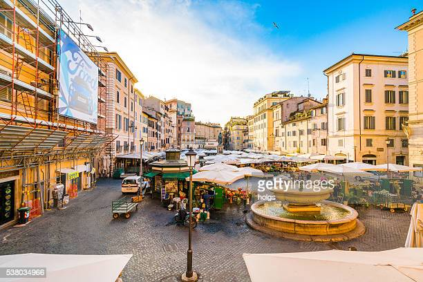 piazza campo de' fiori in rome, italy - campo stock pictures, royalty-free photos & images