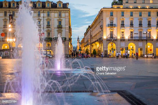piazza castello by night, turin - turin stock pictures, royalty-free photos & images