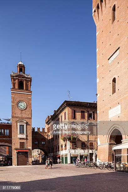 piazza cattedrale in ferrara, italy. - ferrara stock pictures, royalty-free photos & images