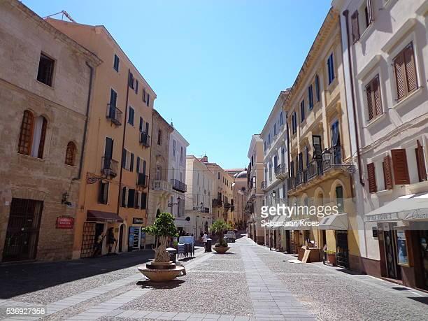 Piazza Civica Square in Sunshine, Alghero, Sardinia, Italy