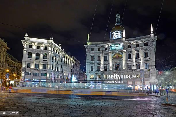 Piazza Corduso in Milan at night