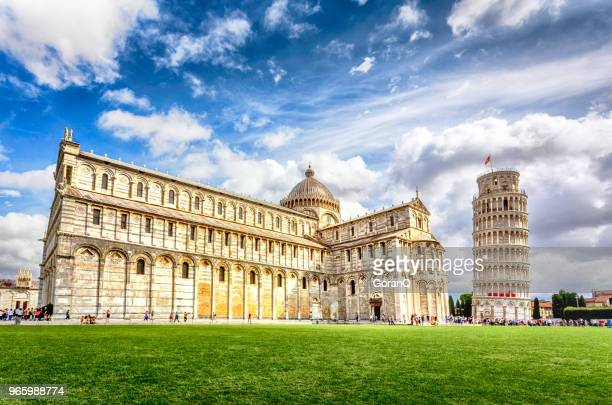 piazza dei miracoli complex with the leaning tower of pisa, italy - pisa stock pictures, royalty-free photos & images